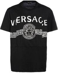 Versace Хлопковая Майка С Принтом - Черный