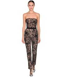 Moschino Embroidered Sheer Tulle Jumpsuit - Black