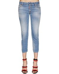 DSquared² Twiggy Mid Rise Cropped Denim Jeans - Blue