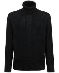 Armani Exchange ビスコースブレンドタートルネックセーター - ブラック