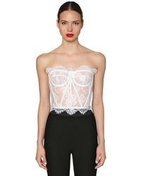 Dolce & Gabbana Bustier In Pizzo Chantilly - Bianco