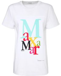 Max Mara Printed Logo Cotton Jersey T-shirt - White