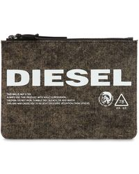 DIESEL - Logo Printed Washed Denim Pouch - Lyst
