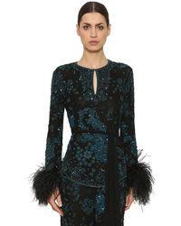 Zuhair Murad Sequin & Bead Embellished Top - Black
