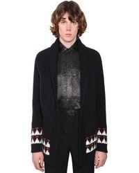 Saint Laurent Embellished Jacquard Wool Cardigan - Black