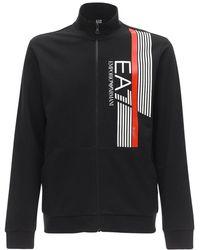 EA7 コットンスウェットシャツ&スウェットパンツ - ブラック