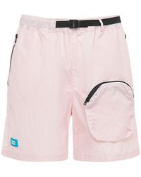 LC23 Nylon Shorts W/3d Pocket & Belt - Pink