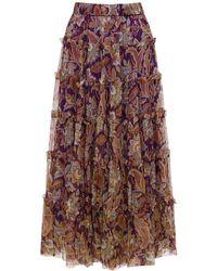 Zimmermann Ladybeetle Tiered Silk Midi Skirt - Purple