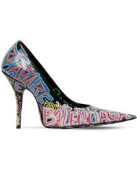 3945ffb9c4e5 Balenciaga - 110mm Graffiti Print Leather Court Shoes - Lyst