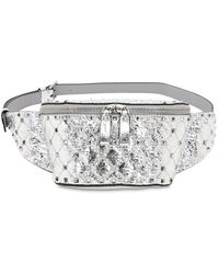 Valentino Garavani Small Spike Laminated Leather Belt Bag - Metallic