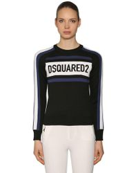 DSquared² - Velvet Logo Patches Wool Blend Sweater - Lyst
