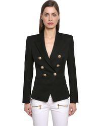 Balmain Double Breasted Wool Twill Blazer - Black