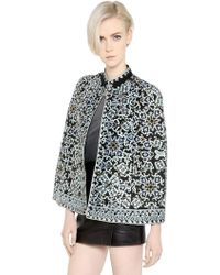 Talitha - Floral Embroidered Silk Crepe Cape - Lyst