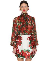 Dolce & Gabbana Blusa In Chiffon Di Seta - Rosso