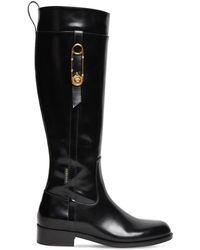 Versace Высокие Кожаные Сапоги 30mm - Черный