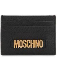 Moschino Porte-Cartes En Cuir Avec Logo En Lettres - Noir