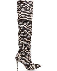 Gianvito Rossi 105mm Zebra Print Satin Crepe Boots - Черный