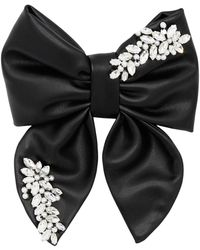 ANOUKI Embellished Faux Leather Hair Bow - Black