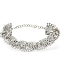 Alessandra Rich Braided Crystal Choker - Mettallic