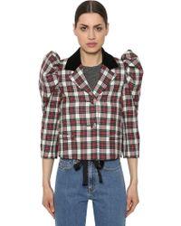 Isa Arfen - Cropped Wool Plaid Jacket - Lyst