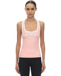 Balmain Top De Lycra Con Logo Estampado - Rosa
