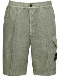 Stone Island Shorts Cargo In Lino - Verde