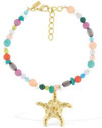 RIXO London Starfish Multi Gem Necklace - Metallic