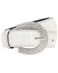 Alessandra Rich 30mm Embossed Leather & Crystal Belt - Multicolour