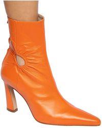 "Kalda 80mm Hohe Stiefeletten Aus Leder ""fary"" - Orange"