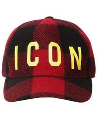 DSquared² Icon ウール チェック柄野球帽 - レッド