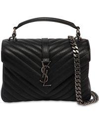 Saint Laurent - Medium College Monogram Leather Bag - Lyst