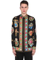 Versace Camisa De Seda Con Estampado - Negro