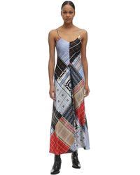 Ganni Платье Из Атласа С Оборками - Многоцветный