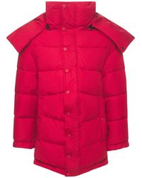 Balenciaga Gepolsterte Jacke Aus Nylon Mit Logo - Rot