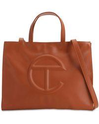 Telfar Medium Embossed Faux Leather Tote Bag - Brown