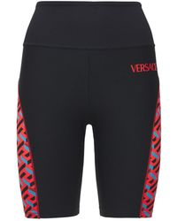 Versace Tech Jersey Logo Cyclist Shorts - Black