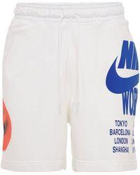 """Nike Shorts Mit Druck """"world Tour"""" - Weiß"""