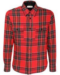 Saint Laurent Клетчатая Рубашка С Вышитым Логотипом - Красный