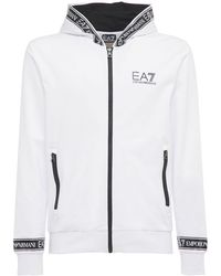 EA7 ジップアップコットンスウェットシャツ - ホワイト