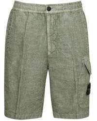 Stone Island Linen Cargo Shorts - Green