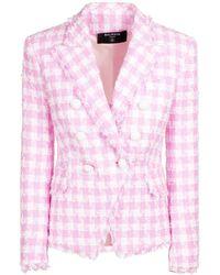 Balmain Blazer In Tweed Di Misto Cotone Gingham - Rosa