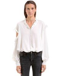 Magda Butrym - Open Shoulders Silk Crepe De Chine Shirt - Lyst