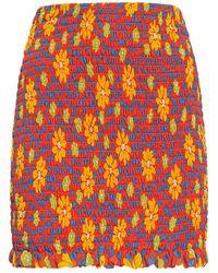 Saint Laurent Daisy シルクミニスカート - オレンジ