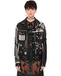 COACH Embellished Lace-trim Leather Jacket - Black