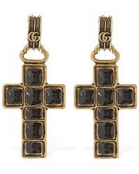 Gucci Enamelled Cross Earrings - Metallic