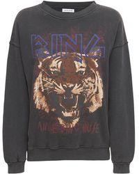 Anine Bing Sweatshirt Aus Baumwolle Mit Tigerfelldruck - Schwarz