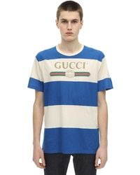 Gucci Футболка Из Хлопкового Джерси С Логотипом - Синий