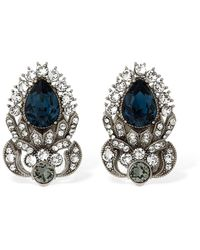 Dolce & Gabbana Sterling Silver Stud Earrings W/crystals - Blau