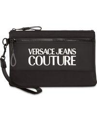 Versace Jeans Couture Pouch Aus Nylon Mit Makrologo - Schwarz