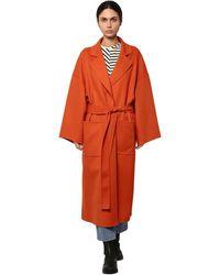 Loewe ウール&カシミア ベルテッドクロスコート - オレンジ